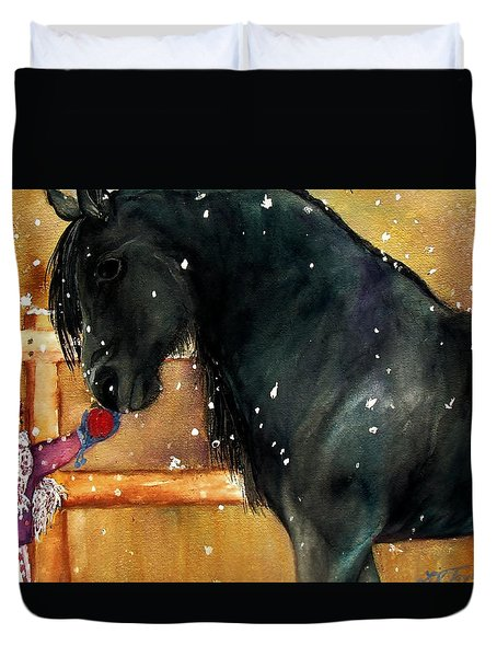Of Girls And Horses Sold Duvet Cover by Lil Taylor