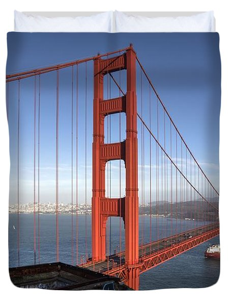 Off She Goes On A Long Voyage Duvet Cover