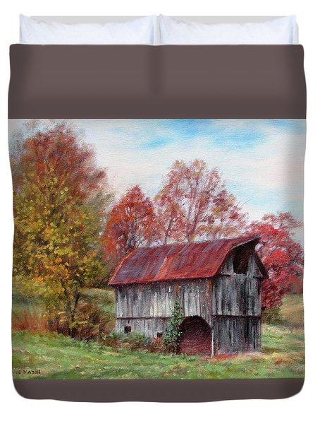 Off The Beaten Track-old Barn With Red Roof Duvet Cover