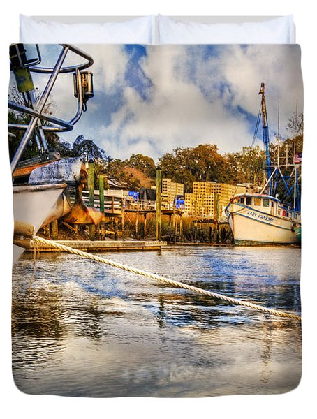 Off The Starboard Bow Duvet Cover by Debra and Dave Vanderlaan