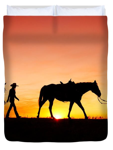 Off To The Barn Duvet Cover by Todd Klassy