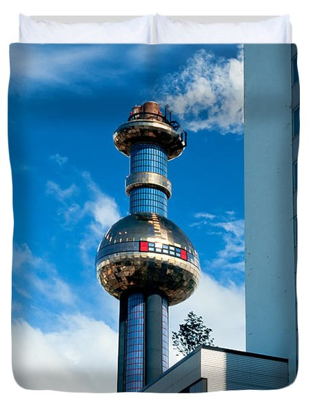 Office Building And Waste-to-energy Plant Vienna Duvet Cover by Stephan Pietzko