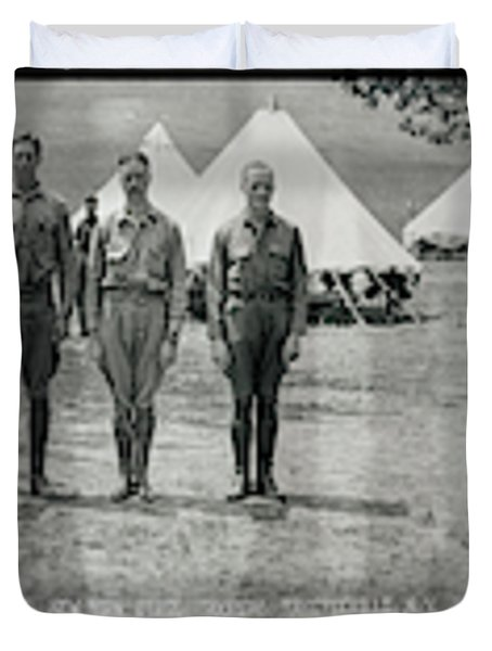 Officers At Camp Newayo, New York State Duvet Cover