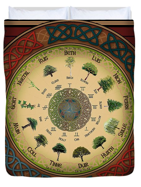 Ogham Tree Calendar Duvet Cover