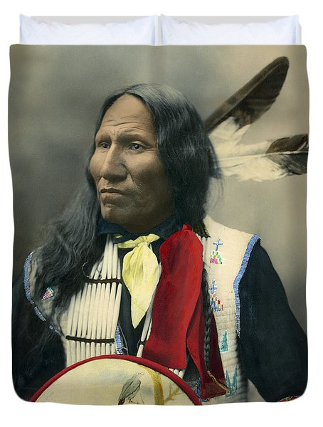 Duvet Cover featuring the photograph Oglala Chief Strikes With Nose 1899 by Heyn Photo