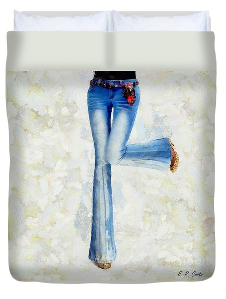 Duvet Cover featuring the painting Oh Happy Day by Elizabeth Coats