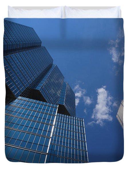 Oh So Blue - Downtown Toronto Skyscrapers Duvet Cover by Georgia Mizuleva