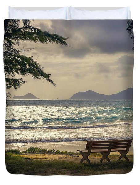 Duvet Cover featuring the photograph Oahu Sunrise by Steven Sparks