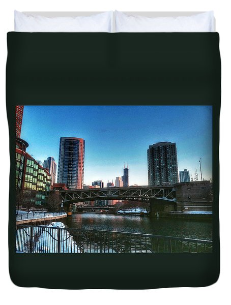 Ohio Street Bridge Over Chicago River Duvet Cover