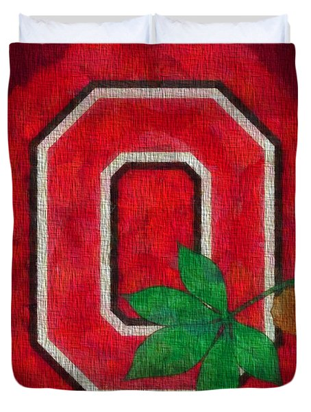 Ohio State Buckeyes On Canvas Duvet Cover by Dan Sproul