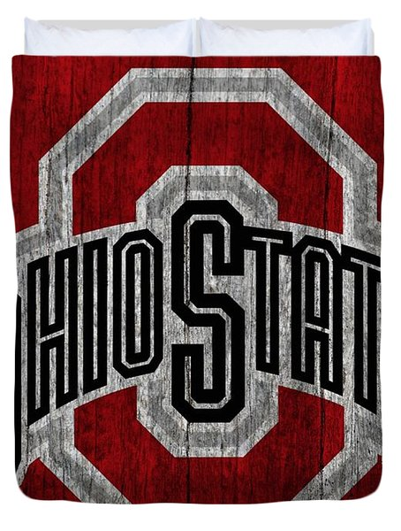 Ohio State University On Worn Wood Duvet Cover