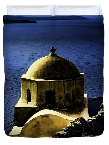 Oia Greece Duvet Cover