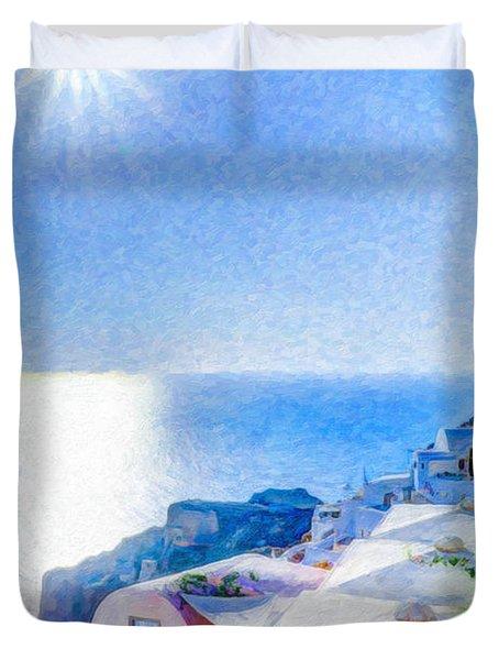 Oia Santorini Grk4178 Duvet Cover