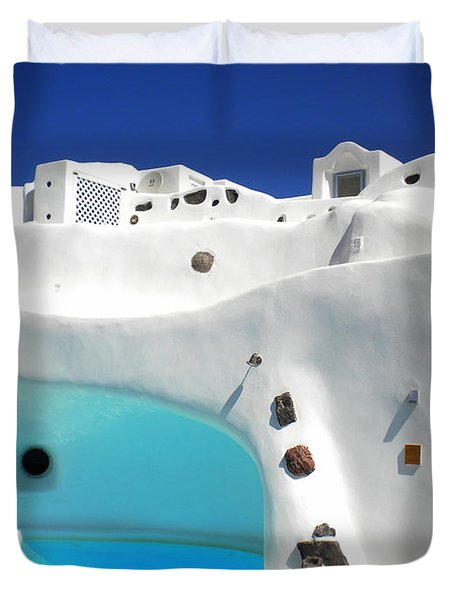 Oia Santorini  With Direct View To The Oceon Greece Duvet Cover