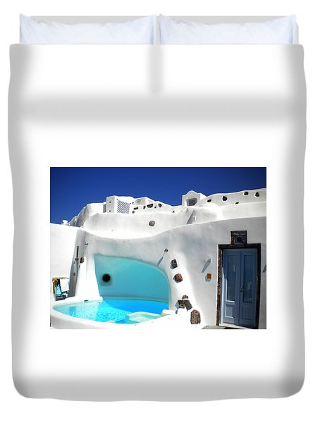Duvet Cover featuring the photograph Oia Santorini  With Direct View To The Oceon Greece by Colette V Hera  Guggenheim