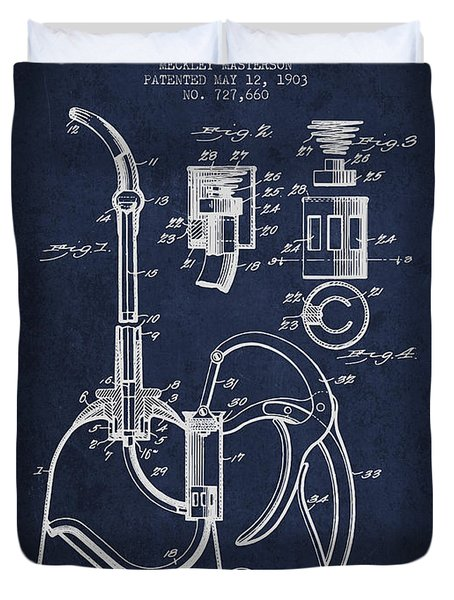 Oil Can Patent From 1903 - Navy Blue Duvet Cover by Aged Pixel