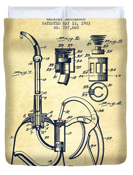 Oil Can Patent From 1903 - Vintage Duvet Cover by Aged Pixel