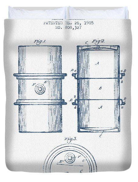 Oil Drum Patent Drawing From 1905 -  Blue Ink Duvet Cover