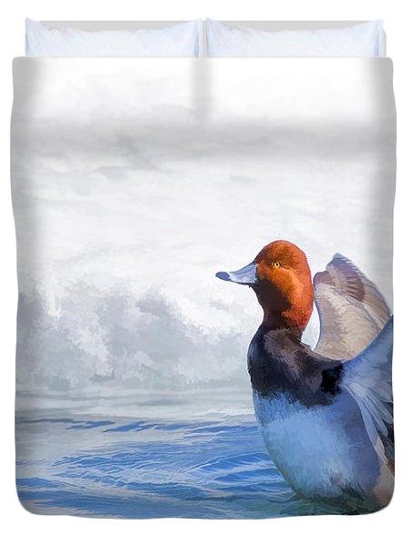 Oil Paint Redhead Duck Bath Duvet Cover
