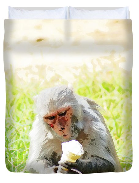 Oil Painting - A Monkey Eating An Ice Cream Duvet Cover