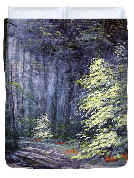 Oil Painting - Forest Light Duvet Cover