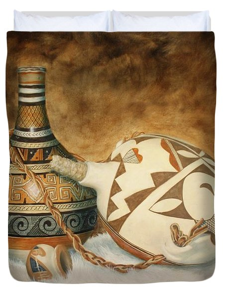 Oil Painting - Indian Pots Duvet Cover