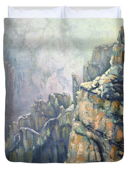 Oil Painting - Majestic Canyon Duvet Cover