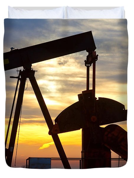 Oil Pump Sunrise Duvet Cover