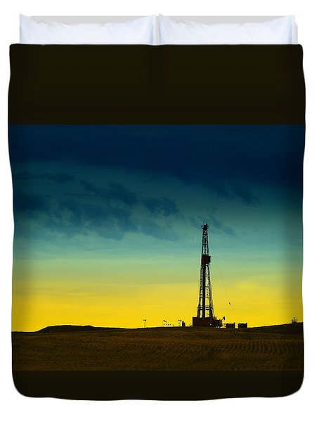 Oil Rig In The Spring Duvet Cover by Jeff Swan