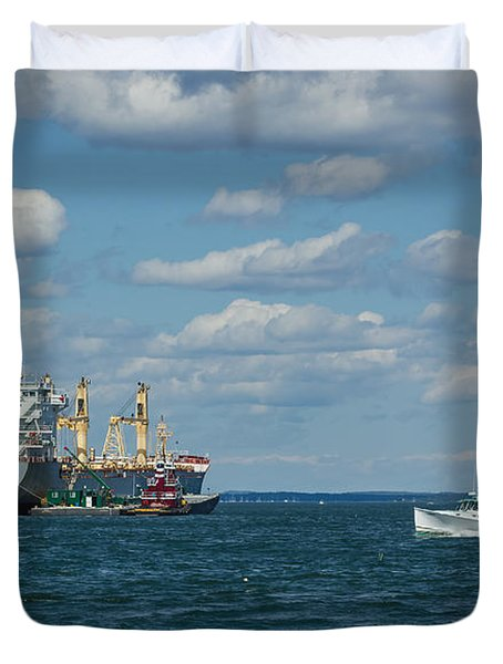 Duvet Cover featuring the photograph Oil Tanker And Lobster Boat by Jane Luxton