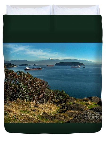 Oil Tankers Waiting Duvet Cover by Robert Bales