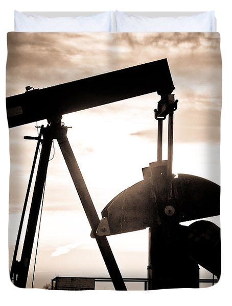 Oil Well Pump Duvet Cover
