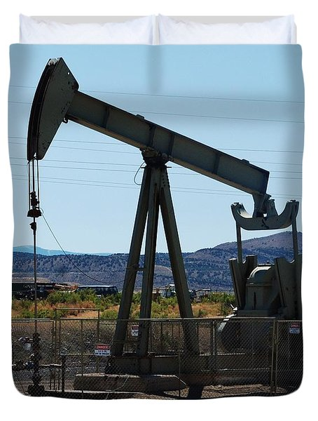 Oil Well  Pumper Duvet Cover by Dany Lison