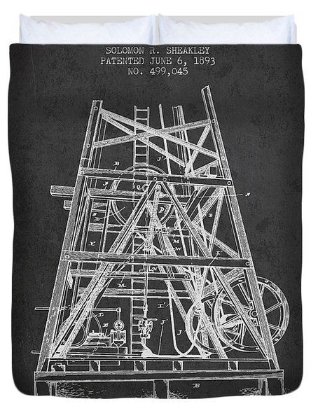Oil Well Rig Patent From 1893 - Dark Duvet Cover by Aged Pixel