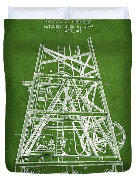 Oil Well Rig Patent From 1893 - Green Duvet Cover by Aged Pixel