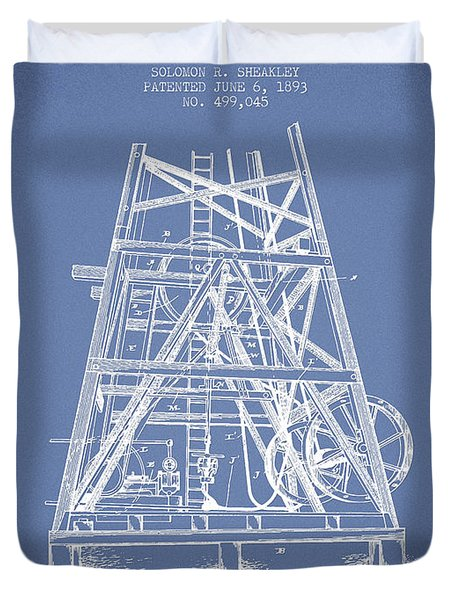 Oil Well Rig Patent From 1893 - Light Blue Duvet Cover by Aged Pixel