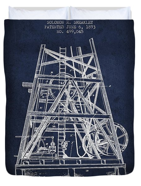 Oil Well Rig Patent From 1893 - Navy Blue Duvet Cover by Aged Pixel