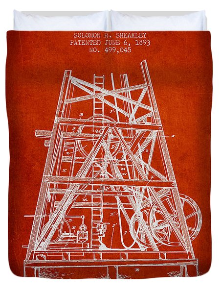 Oil Well Rig Patent From 1893 - Red Duvet Cover by Aged Pixel