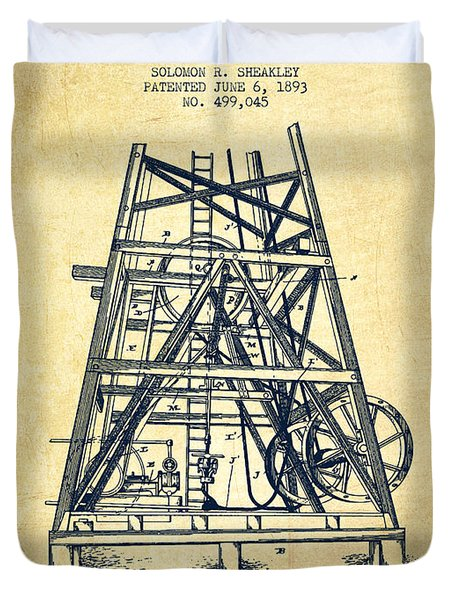 Oil Well Rig Patent From 1893 - Vintage Duvet Cover by Aged Pixel