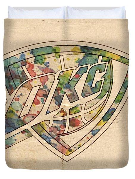 Okc Thunder Logo Art Duvet Cover by Florian Rodarte