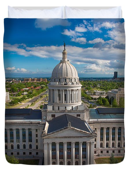 Oklahoma City State Capitol Building B Duvet Cover by Cooper Ross
