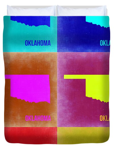 Oklahoma Pop Art Map 2 Duvet Cover by Naxart Studio