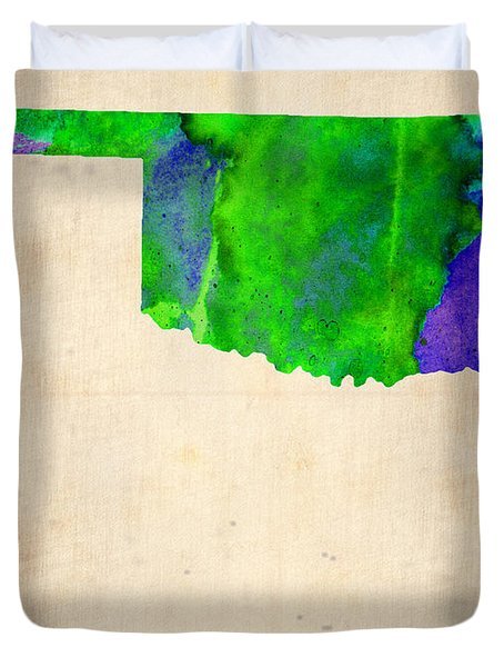 Oklahoma Watercolor Map Duvet Cover by Naxart Studio