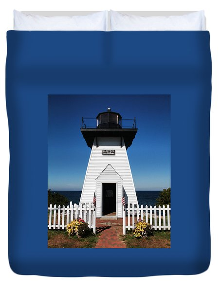 Olcott Ny Lighthouse - Replica Duvet Cover by John Freidenberg