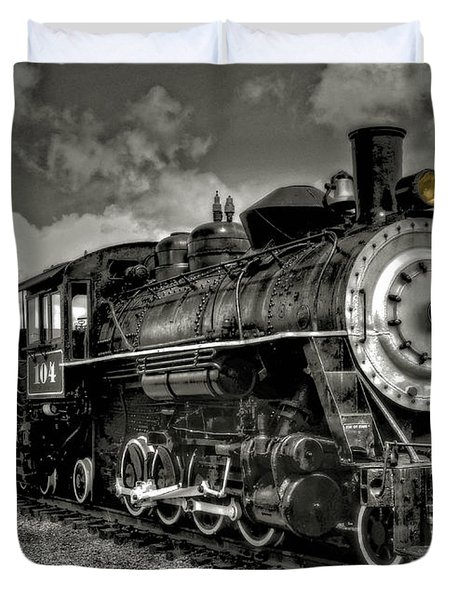 Duvet Cover featuring the photograph Old 104 Steam Engine Locomotive by Thom Zehrfeld