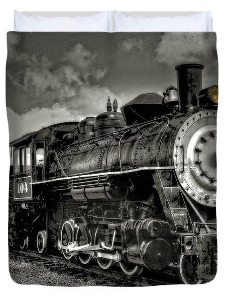 Old 104 Steam Engine Locomotive Duvet Cover