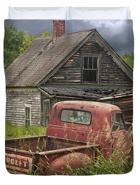 Old Abandoned Homestead And Truck Duvet Cover