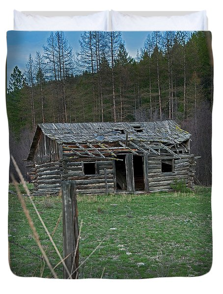 Duvet Cover featuring the photograph Old Abandoned Homestead Cabin Art Prints by Valerie Garner