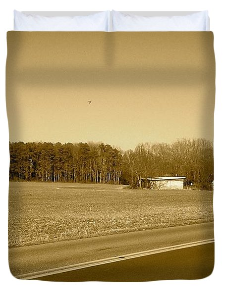 Old Barn And Farm Field In Sepia Duvet Cover by Amazing Photographs AKA Christian Wilson