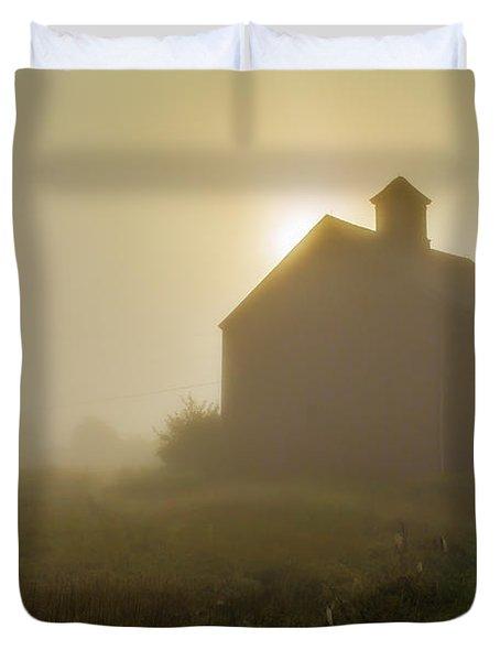Old Barn Foggy Morning Duvet Cover
